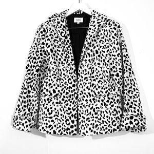 Neiman Marcus White Leopard Print Velvet Jacket
